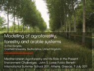 Modelling of agroforestry, forestry and arable systems