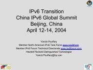 IPv6 Transition China IPv6 Global Summit Beijing ... - IPv6 Task Force