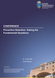 CONFERENCE Preventive Detention: Asking the ... - Bond University