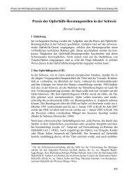 Praxis der Opferhilfe-Beratungsstellen in der Schweiz