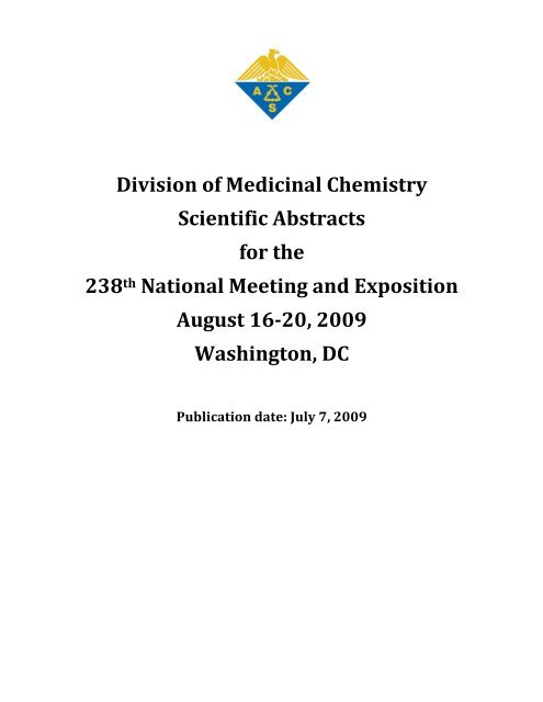 Division of Medicinal Chemistry Scientific Abstracts for the
