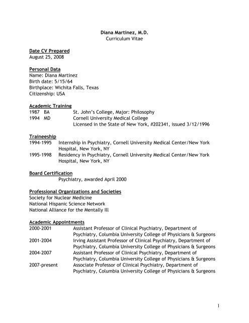 View Curriculum Vitae - National Hispanic Science Network