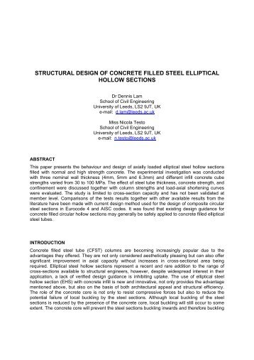 structural design of concrete filled steel elliptical hollow sections