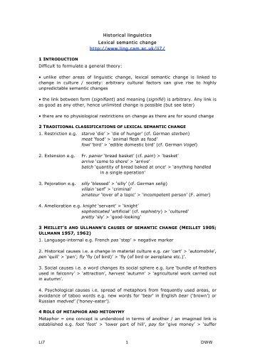 Li7 1 DWW Historical linguistics Lexical semantic change http://www ...