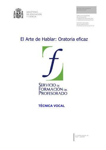 El Arte de Hablar: Oratoria eficaz - Instituto Nacional de Tecnologías ...
