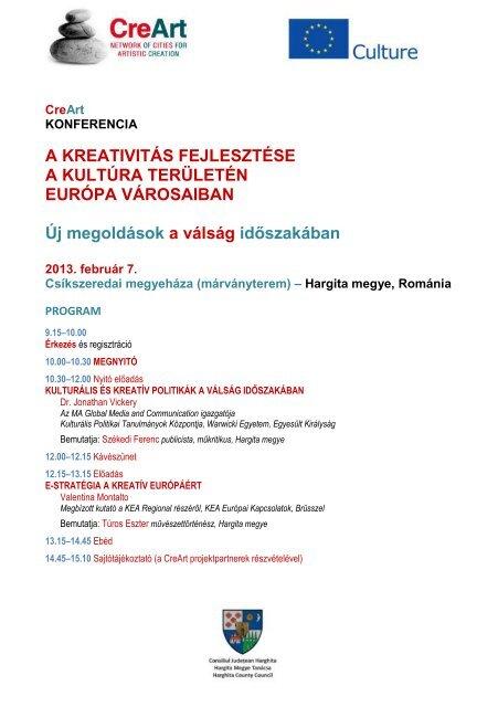 CreArt konferencia program - Hargita Megye Tanácsa