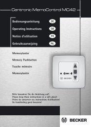 Becker Schalter Taster MemoControl MC42 Anleitung - auf enobi.de