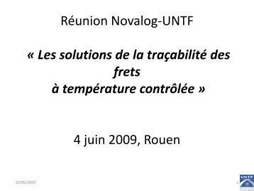 Réunion Novalog-UNTF « Les solutions de la traçabilité des frets à ...