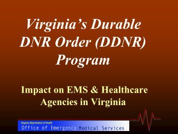 DDNR - Virginia Department of Health - Commonwealth of Virginia