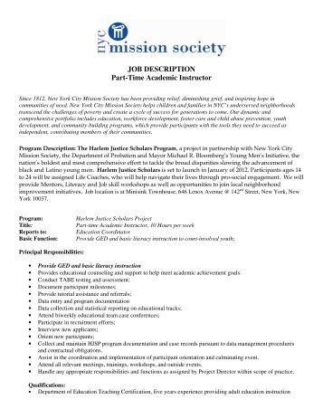 JOB DESCRIPTION Part-Time Academic Instructor - New York City ...