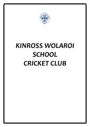 KWS Cricket Club Guidelines - Kinross Wolaroi School