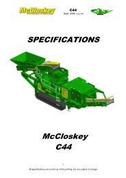 SPECIFICATIONS McCloskey C44 - Best Machinery Kft.