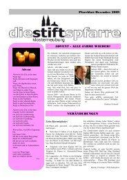 Pfarrblatt Dezember 2009 ADVENT - ALLE JAHRE ... - Stiftspfarre