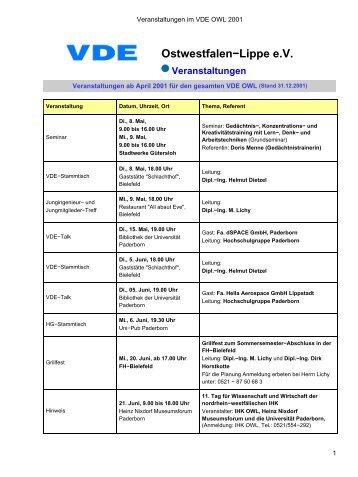 Veranstaltungen im VDE OWL 2001 - des VDE Ostwestfalen-Lippe eV