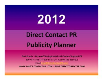 Publicity Calendar for 2012 - Direct Contact PR