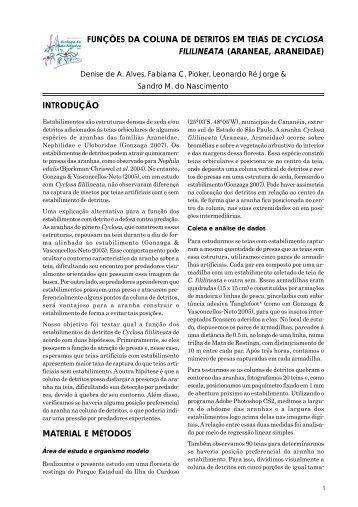 funções da coluna de detritos em teias de cyclosa fililineata