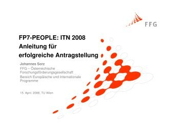 FP7-PEOPLE: ITN 2008 Anleitung für erfolgreiche Antragstellung