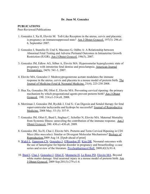 Dr  Gonzalez's Publications - Obstetrics & Gynecology