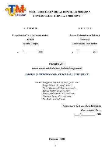 Istoria şi metodologia cercetării științifice - Universitatea Tehnică a ...