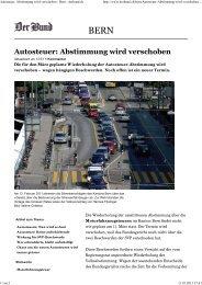 Autosteuer: Abstimmung wird verschoben - Bern - derbund.ch - BSPV