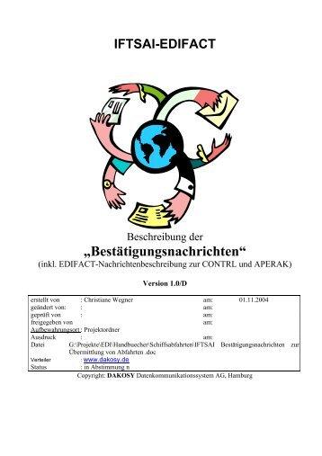 Bestätigungsnachrichten - DAKOSY Datenkommunikationssystem AG