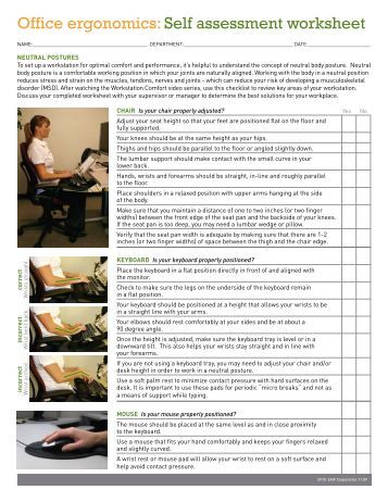 Computer workstation ergonomic self assessment checklist for Ergonomic assessment template