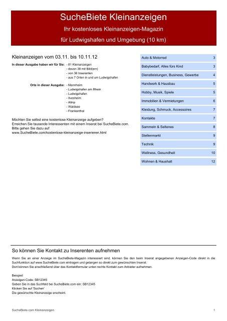 SucheBiete Kleinanzeigenzeitung Ludwigshafen - Kostenlose ...