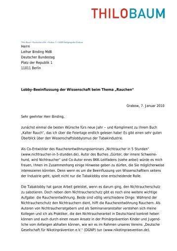 Herrn Lothar Binding MdB Deutscher Bundestag Platz der Republik ...