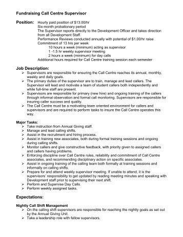 fundraising call centre supervisor job description expectations