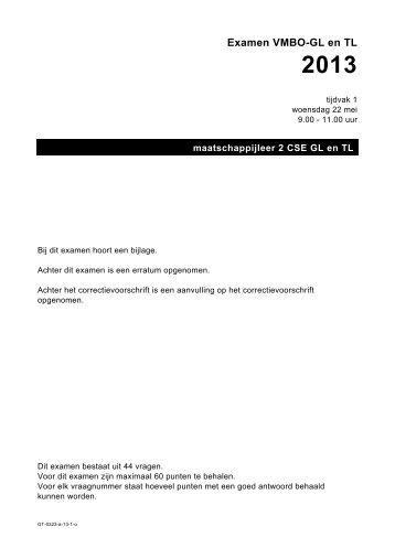 Examen VMBO-GL en TL 2013