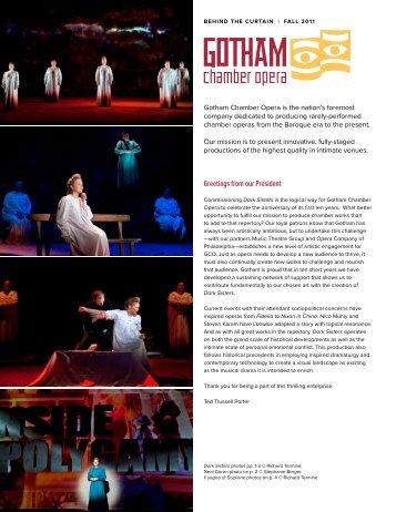 Behind the Curtain Fall 2011 - Gotham Chamber Opera