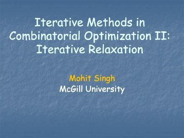 Combinatorial Optimization II: - LNMB