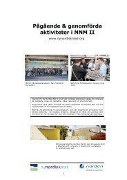 Pågående & genomförda aktiviteter i NNM II - Ny Nordisk Mat
