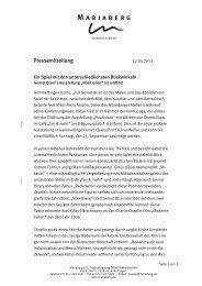 Pressemitteilung - Mariaberg