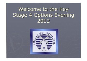 Welcome to the Key Stage 4 Options Evening 2012 - Chailey School...