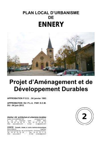 Un Projet d'Aménagement et de Développement Durable ... - Ennery