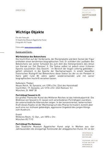 Wichtige Objekte - Museum Ägyptischer Kunst München