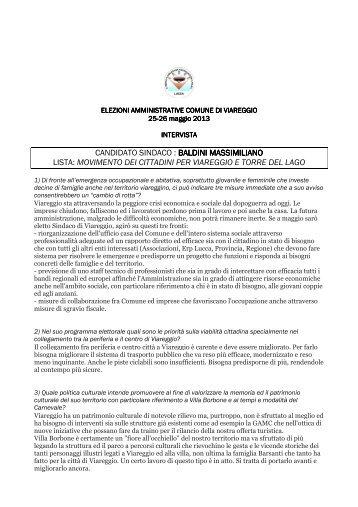 Interviste candidati sindaco Viareggio elezioni 26-27 maggio 2013