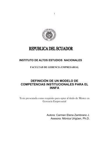 definición de un modelo de competencias institucionales para el innfa