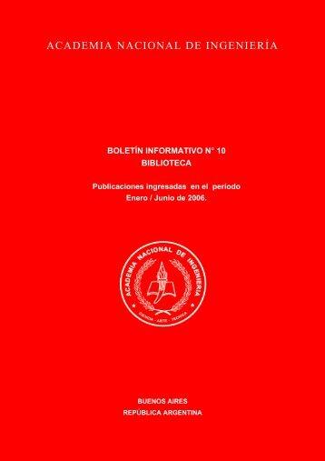 boletín informativo n° 10 biblioteca - Academia Nacional de Ingeniería