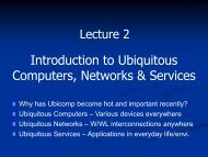 Introduction to Ubiquitous Computers, Networks & Services