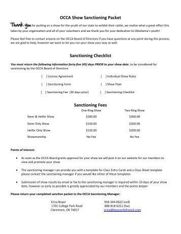 OCCA Show Sanctioning Packet Sanctioning Checklist Sanctioning ...