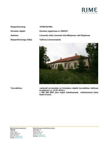 Eksperthinnang: 1078072010KL Hinnatav objekt: Kinnistu ... - Tallinn