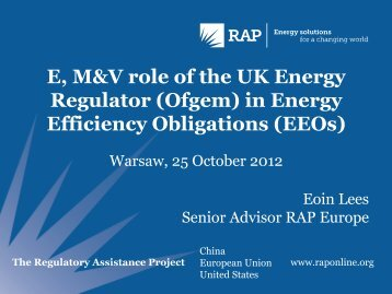 E, M&V role of the UK Energy Regulator (Ofgem) in Energy ...