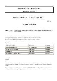 delibera valutazione delle perfomance - Comune di Primaluna