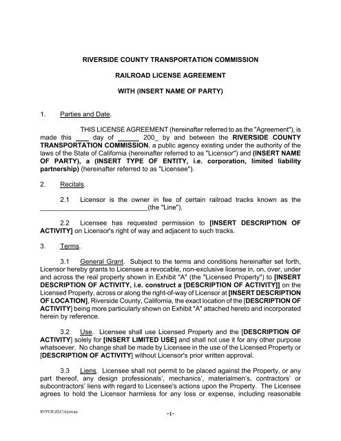 Template License Agreement Riverside County
