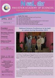 NewsLetter April 2013 - Pakistan Academy of Sciences