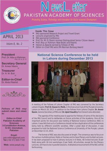 NewsLetter April 2013 - Pakistan Academy of Sciences