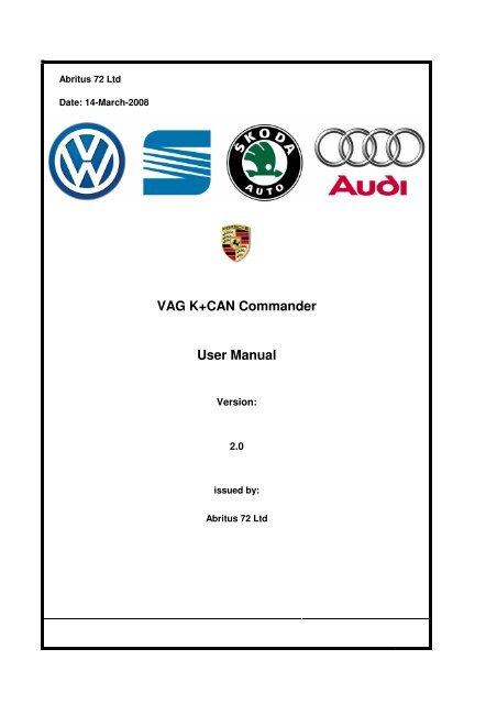 VAG K+CAN Commander User Manual - Reset Tools