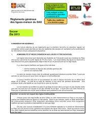 Règlements de soccer - Peps - Université Laval